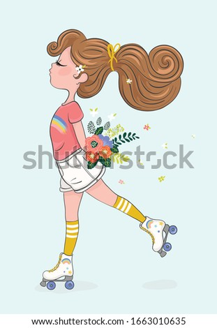 Cute girl skating with flowers vector illustration, kids fashion artworks, greeting cards, t shirt prints. Photo stock ©