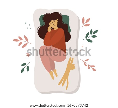 Cute girl sleeps on side. Postcard of woman and cat in bed. Girl in pajama sleeping in different poses. Mattress for sweet dreams. Time for yourself, healthcare, relax concept. Vector illustration, ad