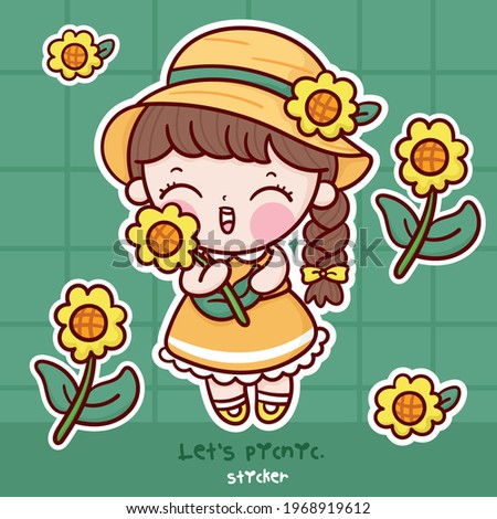 Cute girl sunflower cartoon sticker collection kawaii character: flower Summer and spring season picnic vector (Girly doodles). Perfect for Nursery kids, greeting card, baby shower girl,fabric design. Stock photo ©