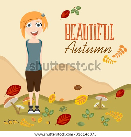 cute girl surrounded by autumn