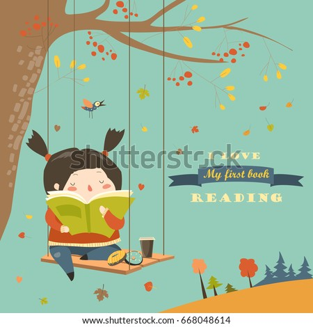 cute girl swinging and reading