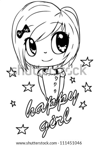 cute girl / T-shirt graphics / cute cartoon characters / cute graphics for kids / Book illustrations