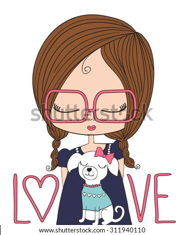Shutterstock cute girl/T-shirt Graphics/illustration princess girl/Vector Cute beautiful fashionable girl/design for children's books/cartoon character/children art/Children illustration for School books and more