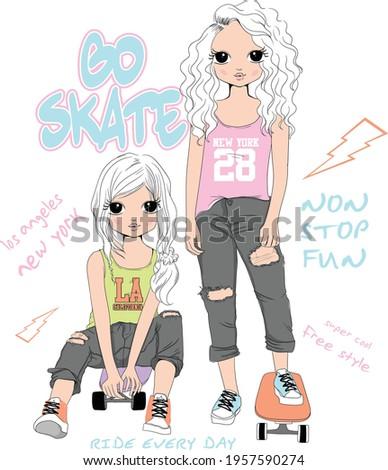 cute girl T-shirt Graphics. vector. girl pattern.   girl illustration . Fashion and skate girl