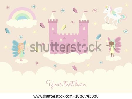 Cute girl template babies children birthday greeting card invitation. Pink castle fantasy fairyland fairy princess unicorn rainbow butterflies.