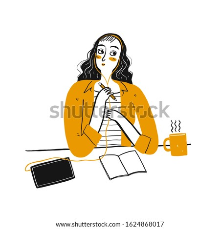 Cute girl thinking idea at her office. Hand drawn doodle style vector design illustrations.