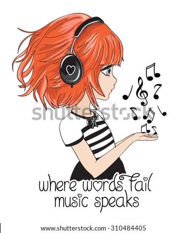 Cute girl vector design.T-shirt Graphics.Children cartoon character.Slogan about music.