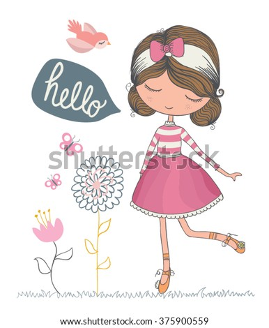 cute girl vector/T-shirt print/Book illustrations for children/Romantic hand drawing poster/cartoon character/For apparel or other uses in vector/animal lover