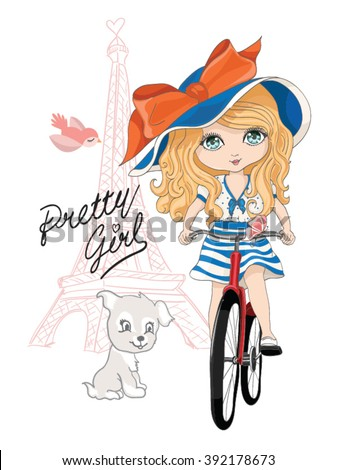 cute girl vector/T-shirt print/Book illustrations for children/Romantic hand drawing poster/cartoon character/For apparel or other uses in vector/Eiffel tower and girl with bicycle