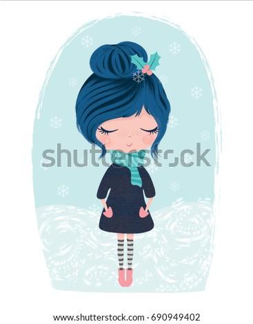 stock-vector-cute-girl-vector-winter-theme