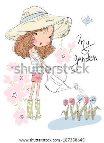 Cute girl watering flowers in the garden  - stock vector