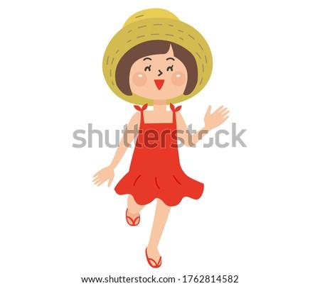 cute girl wearing a straw hat
