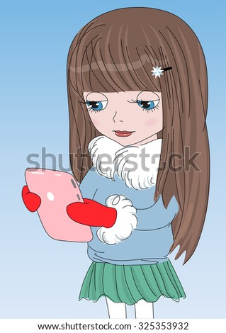 cute girl with a pink tablet in
