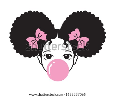 Cute girl with afro puff hair blowing bubble gum vector illustration. Stockfoto ©