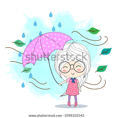cute girl with an umbrellathe