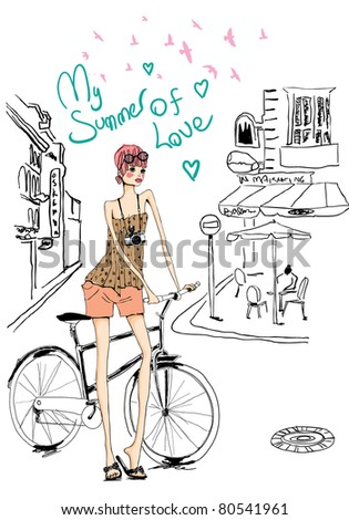 cute girl with bicycle in summer