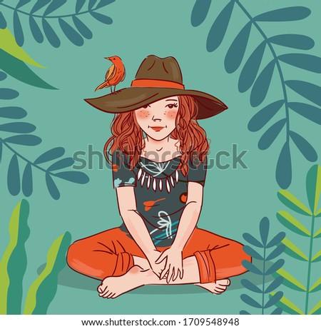 cute girl with bird in garden