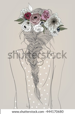 cute girl with braid and flowers