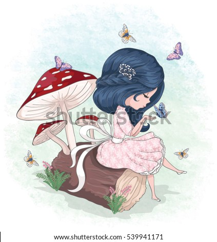 cute girl with butterfly vector