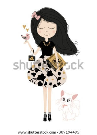 cute girl with cat vector book