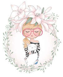 Cute girl with cat vector design.Book illustrations for children.