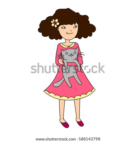cute girl with cat vector