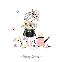 cute girl with floral bouquet, spring design