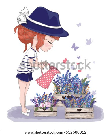 Cute girl with flowers.Children illustration for School books and more. Separate Objects.T-shirt graphic.cartoon character.girl blowing butterflies