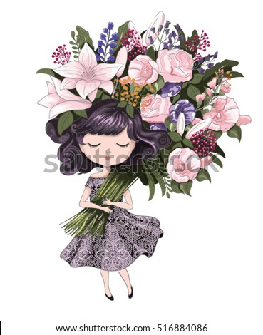 cute girl with flowerschildren