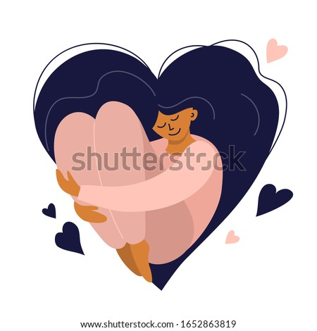 Cute girl with heart shaped long hair. Self care, love yourself icon or body positive concept. Happy woman hugs her knees. Illustration of International Women's day. Vector postcard, valentines card. stock photo