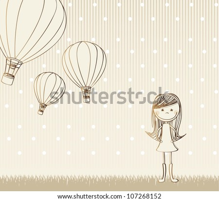 cute girl with hot air balloons, vintage.  vector illustration