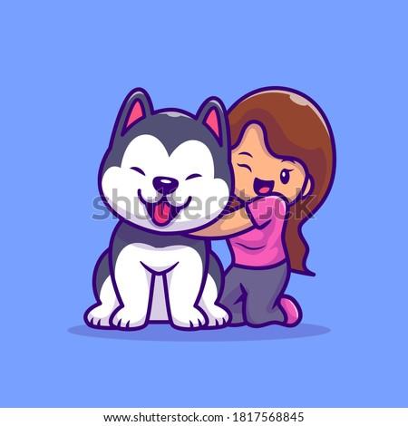 cute girl with husky dog