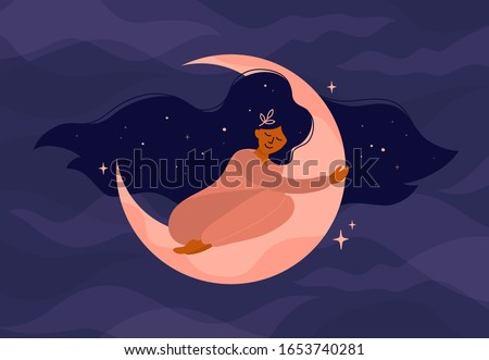 Cute girl with long hair sleeps on the moon. Romantic dreams with night sky and stars. Vector illustration of woman hugs the crescent moon. Modern witch concept. Design for tarot card cover, postcard.