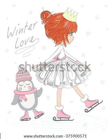 cute girl with penguin cute