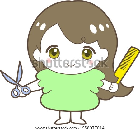 cute girl with scissors and comb