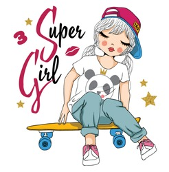 cute girl with skateboard vector/T-shirt print/Romantic hand drawing poster/For apparel or other uses,in vector.