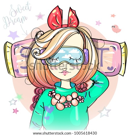 cute girl with sleeping mask is