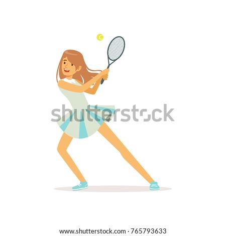 cute girl with tennis racket