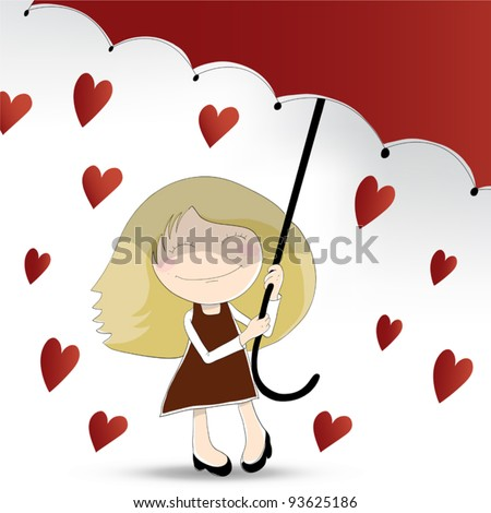 Cute girl with umbrella in heart rain (layer with umbrella in clipping mask)