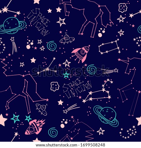 Cute girlish pattern with stars and unicorn. unicorn constellation in space. Seamless pattern for baby clothes, fashion, prints, wrapping paper.