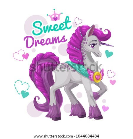 Cute girlish print with beautiful unicorn. Pretty little horse princess. Trendy t shirt design template. Vector illustration.