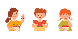 Cute girls and boys eating fresh berries: watermelon, strawberries and cherries. Summer season. Vector illustration in cartoon style on a white background