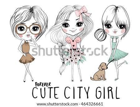 cute girls illustration