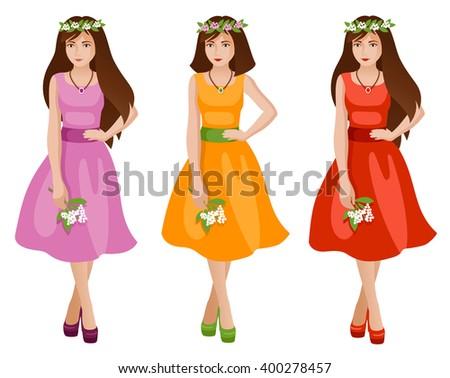 cute girls in spring or summer