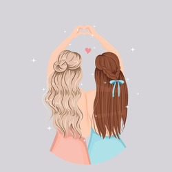 Cute girls make heart with their hand. Pretty hair design. Happy friendship concept. Flat vector illustration isolated.