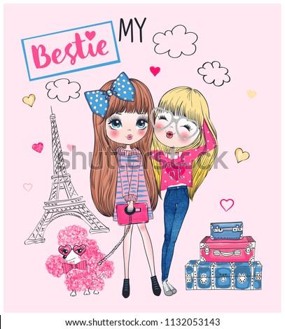 cute girls vector
