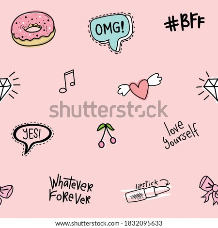 Cute girly elements on pink seamless repeating pattern texture background / Design for textile graphics, fashion fabrics, wallpapers etc