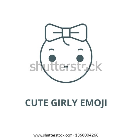 Cute girly emoji line icon, vector. Cute girly emoji outline sign, concept symbol, flat illustration