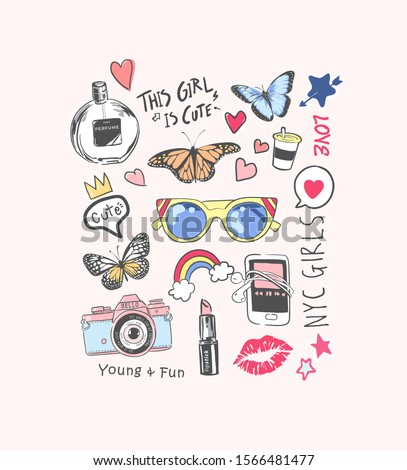 cute girly icons illustration and slogan for fashion print
