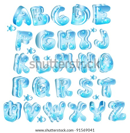 Cute glossy blue alphabet with drops and fish, vector, EPS10